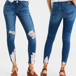 American Eagle Distressed High Rise Jegging Crop